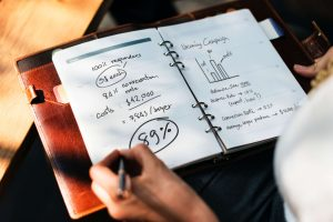 Person Measuring success and ROIs of their marketing strategies